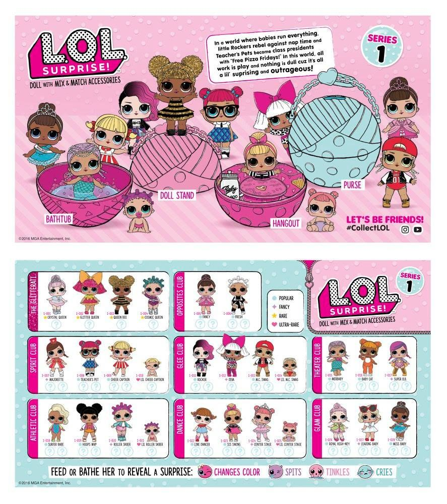 Lol Surprise Series 1 Checklist Collect Them All Collectlol Lolsurprise Loldolls Lolsurprisedolls Series1 Series2 Series3 Lol Dolls Lol Custom Dolls