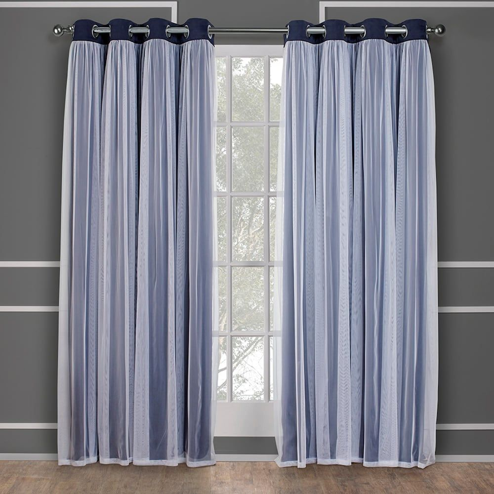 Exclusive Home 2 Pack Catarina Layered Solid Blackout And Sheer