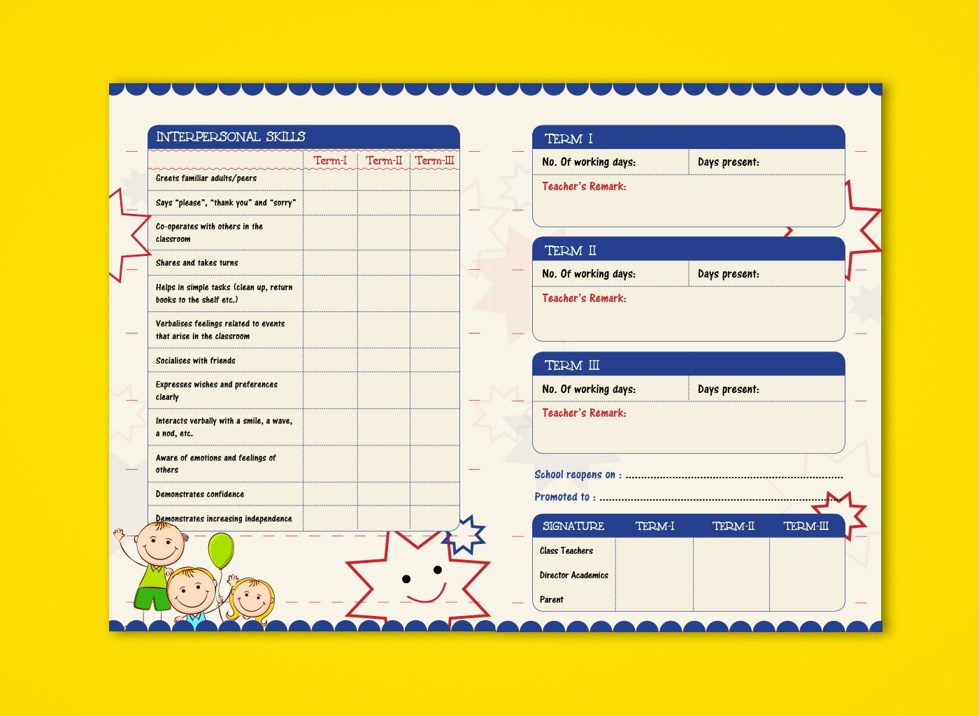 Pre Nursery Report Card On Behance Report Card Ideas With Regard To High School Student Rep Report Card Template School Report Card Kindergarten Report Cards