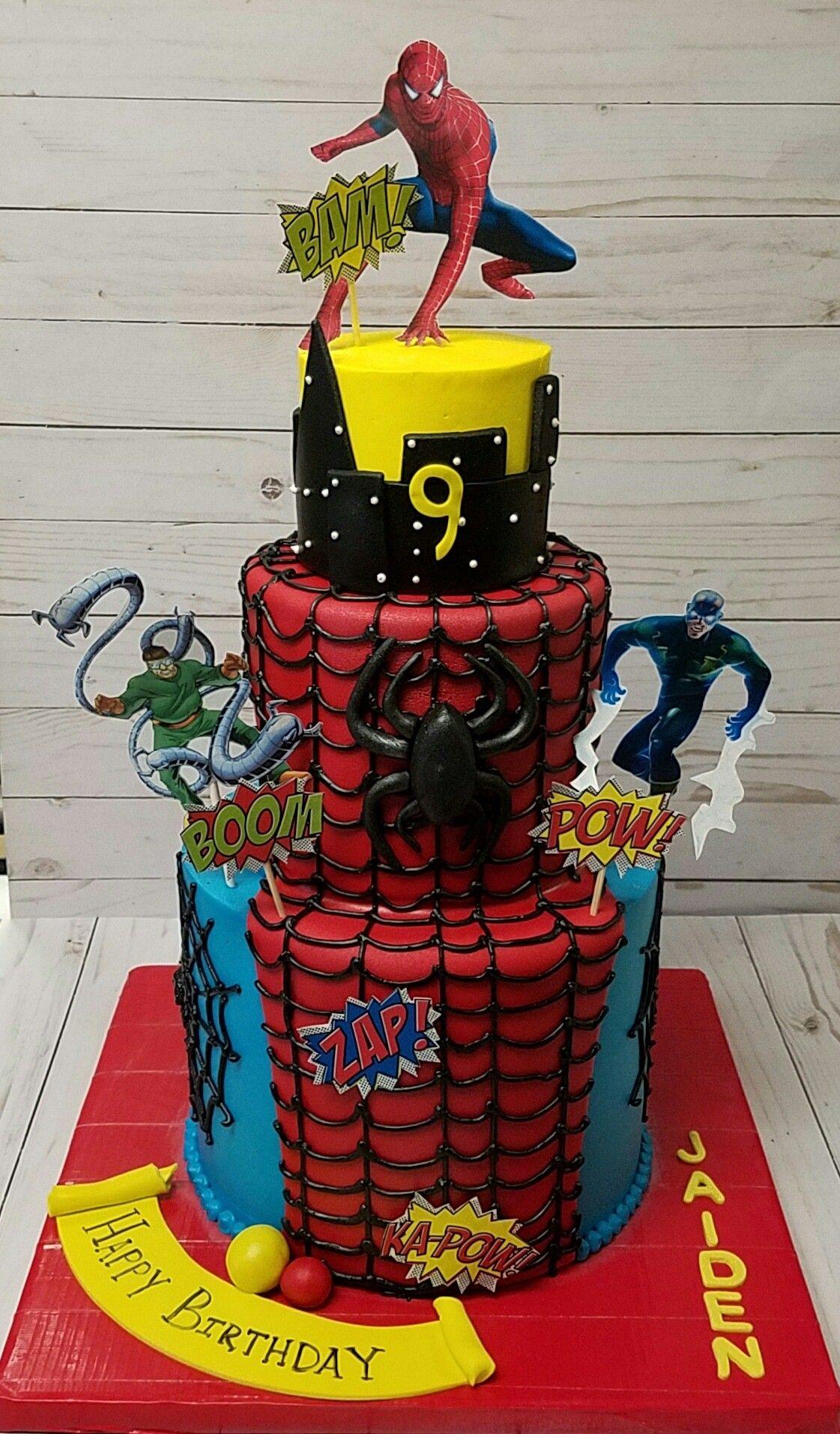 Spider Man Birthday Cake Pastry Bag Cake Collc Cakes Pinterest