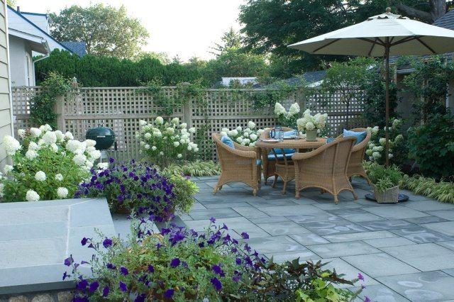 Terrasse gestaltung möbel garnitur ideen sichtschutz zaun ...