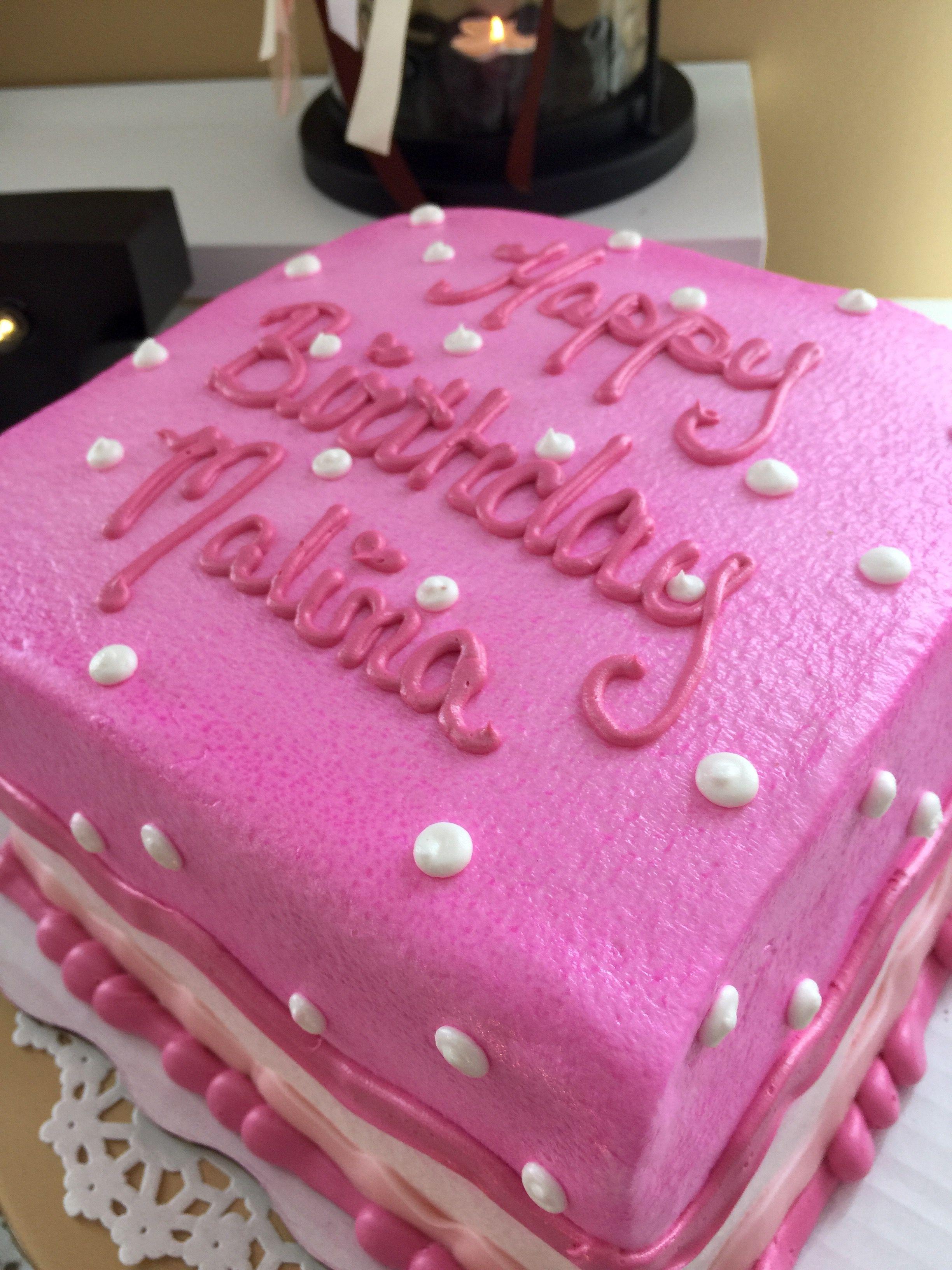 Square Pink And White Girl Birthday Cake Baby Girl First Birthday