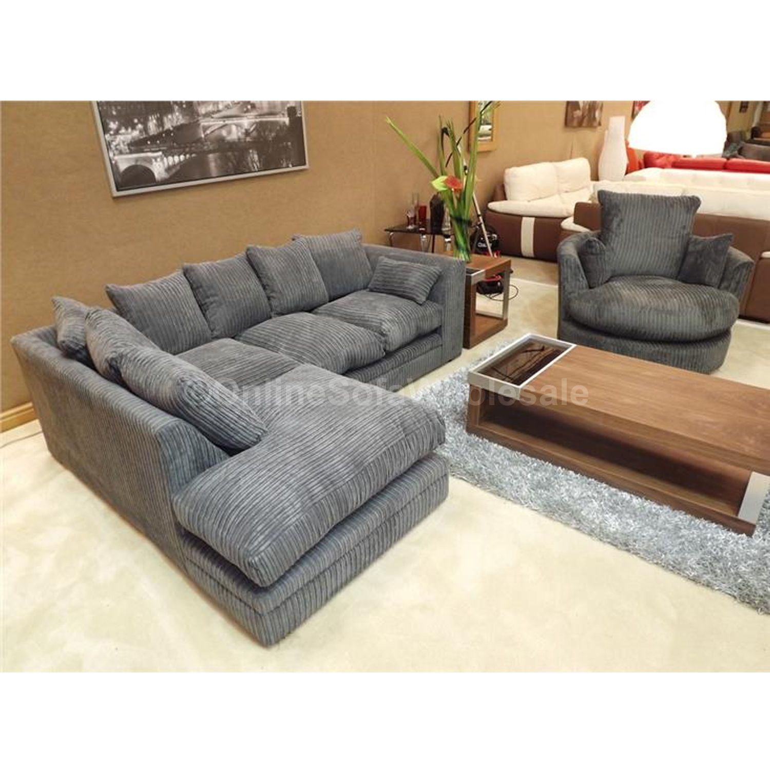 Details About Dylan Corner Sofa Left Hand Plus Swivel Chair All Over Dark Grey Fabric Colour