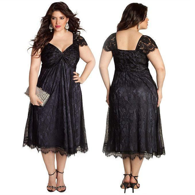 Plus Size Special Occasion Dresses V Neck Cap Sleeve Black Lace ...