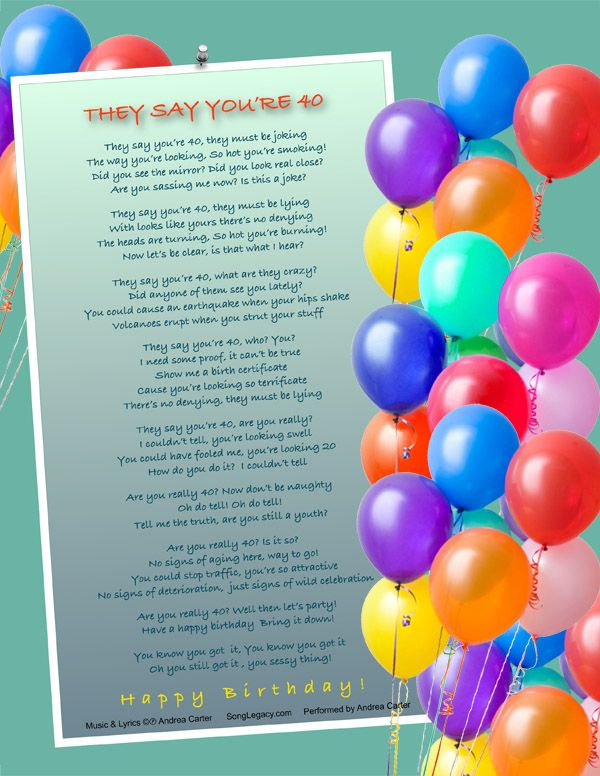 Lyric Sheet for original 40th birthday song for a woman composed – Birthday Song Card