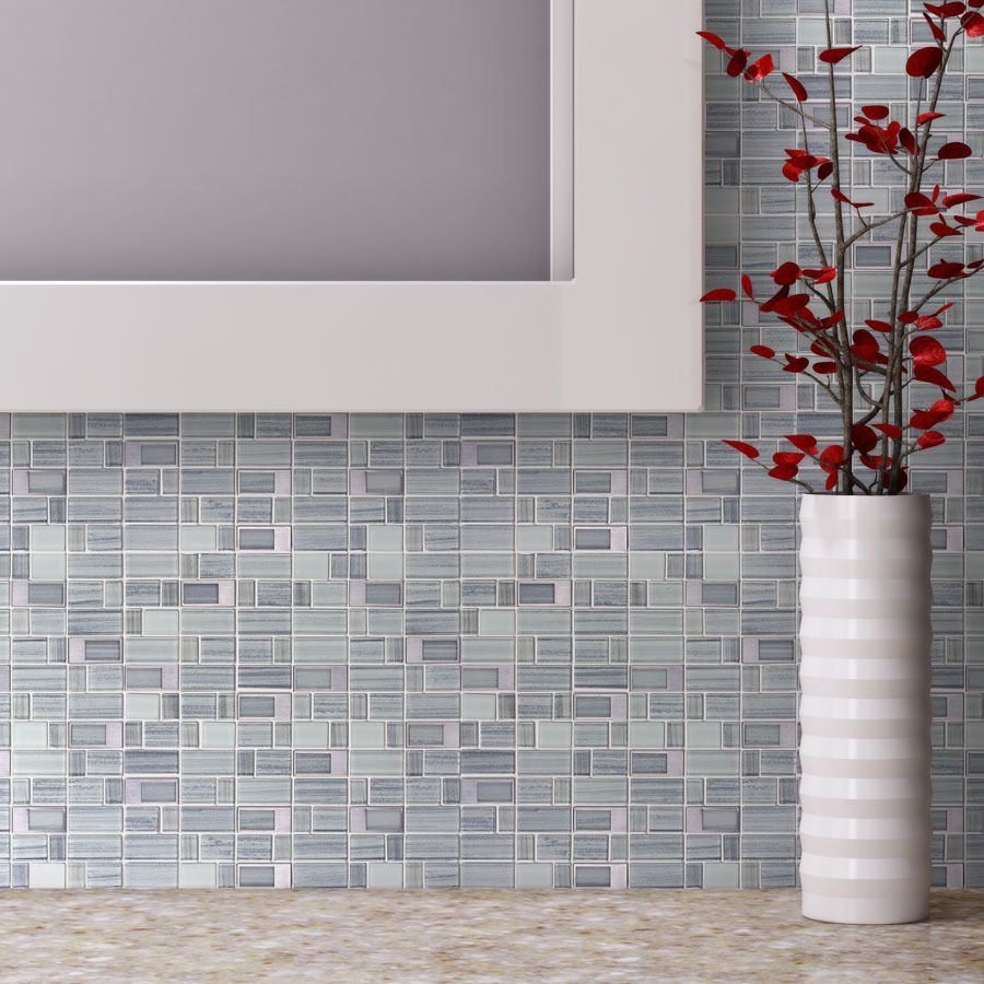 Shop Elida Ceramica Silver Windows Staggered Mosaic Glass And Metal Wall Tile Common X Actual