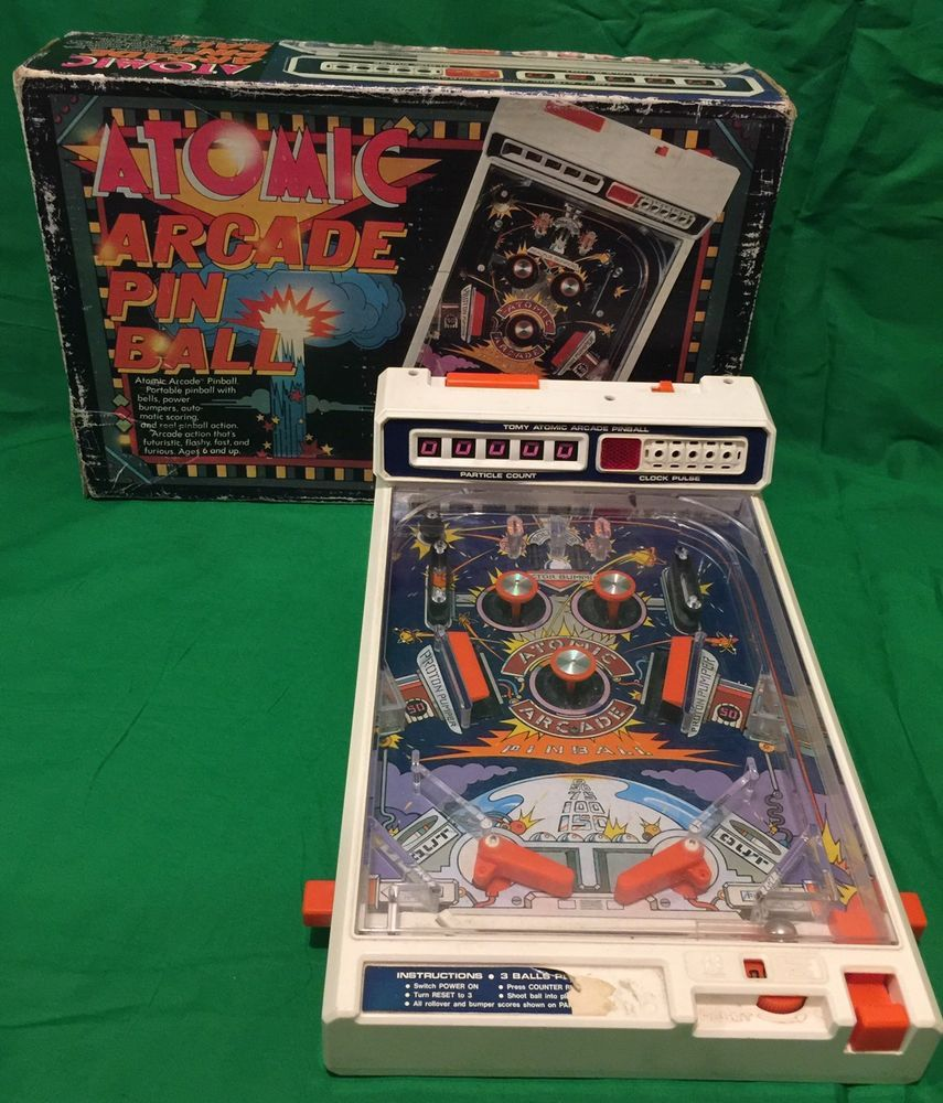 Vintage Atomic Arcade Tabletop Pinball Machine Tomy Japan Collectable Pinball Pinball Machine Arcade