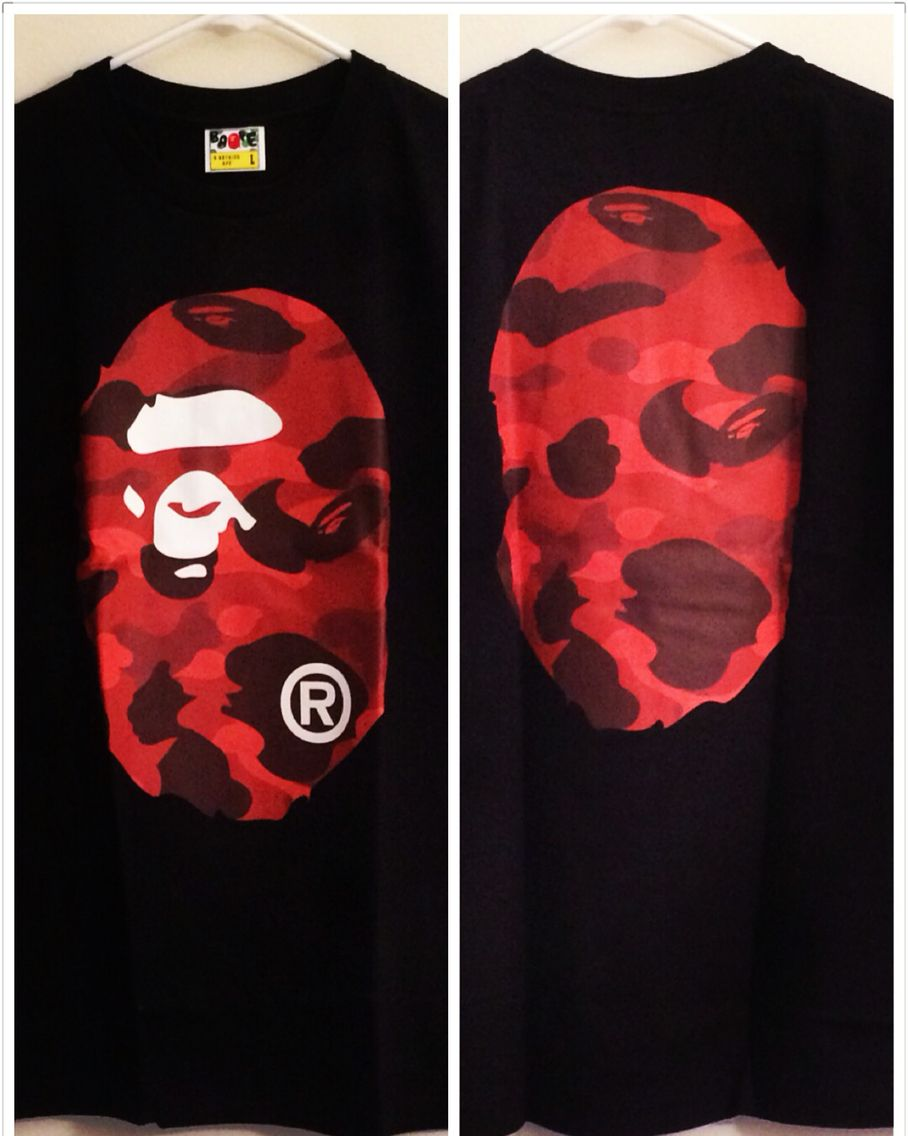 29d1339412a0  bape  colorcamo front and back camo print big ape head tee. Available in  black red camo and white purple camo. DM for more info.