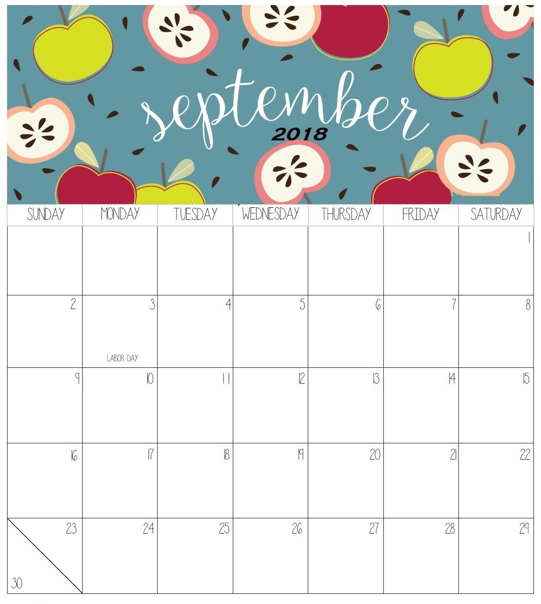 September 2018 Colorful Calendar For Desk | Calendar 2018