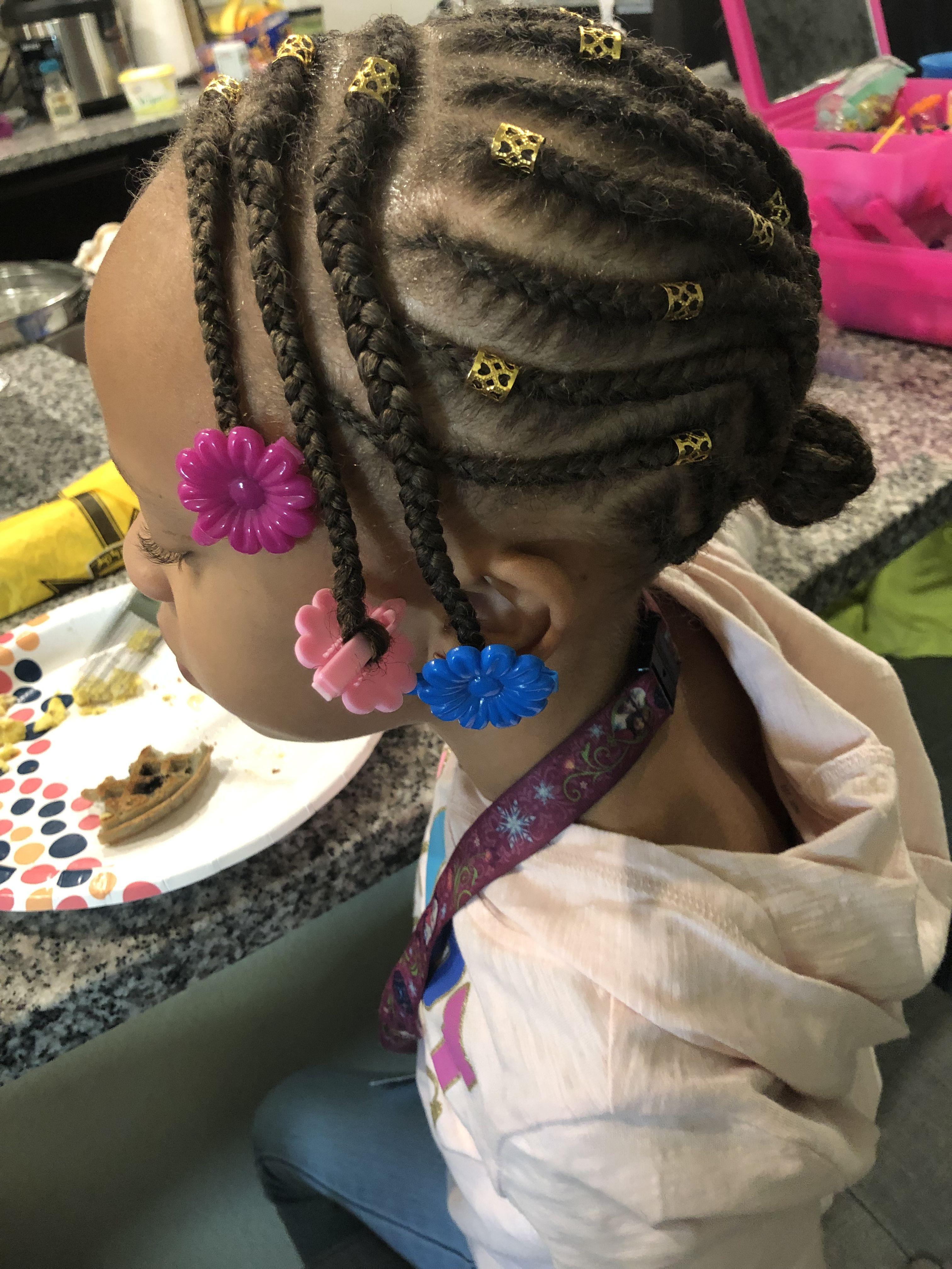 Braids in a bun   Girls natural hairstyles, Baby ...