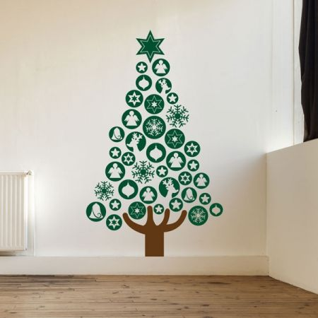 Delightful Baubles Christmas Tree Wall Decal In Large