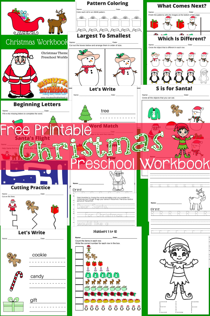 Free Printable Here Comes Santa Claus Preschool Workbook Preschool  Workbooks, Preschool Christmas, Business For Kids