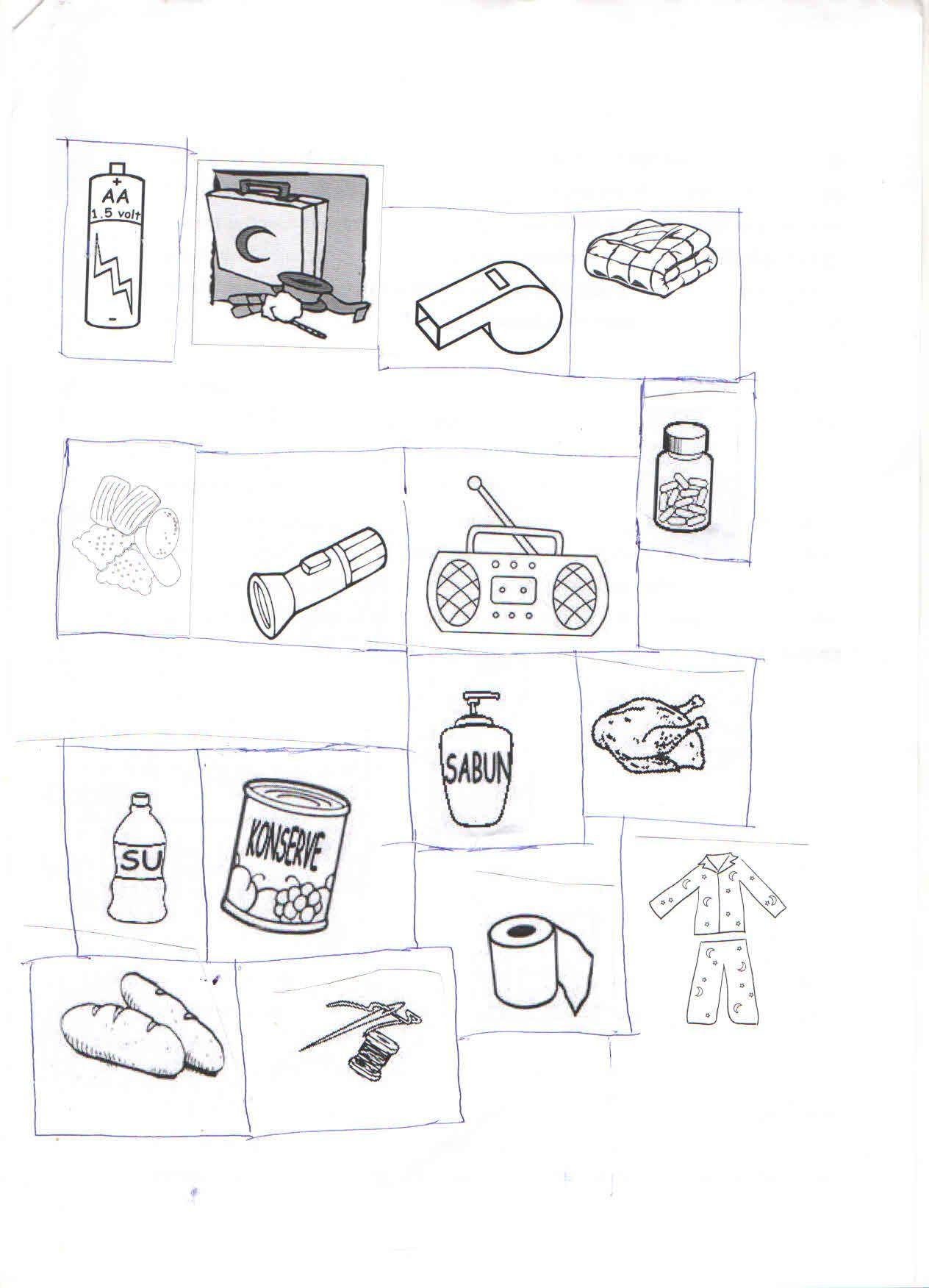 Deprem çantası Malzemeleri Okul öncesi Sanat Etkinlikleri
