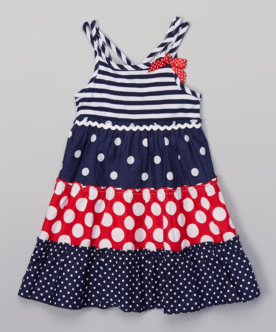 Youngland Navy & Red Polka Dot Tiered Swing Dress - Toddler & Girls by Youngland #zulily #zulilyfinds