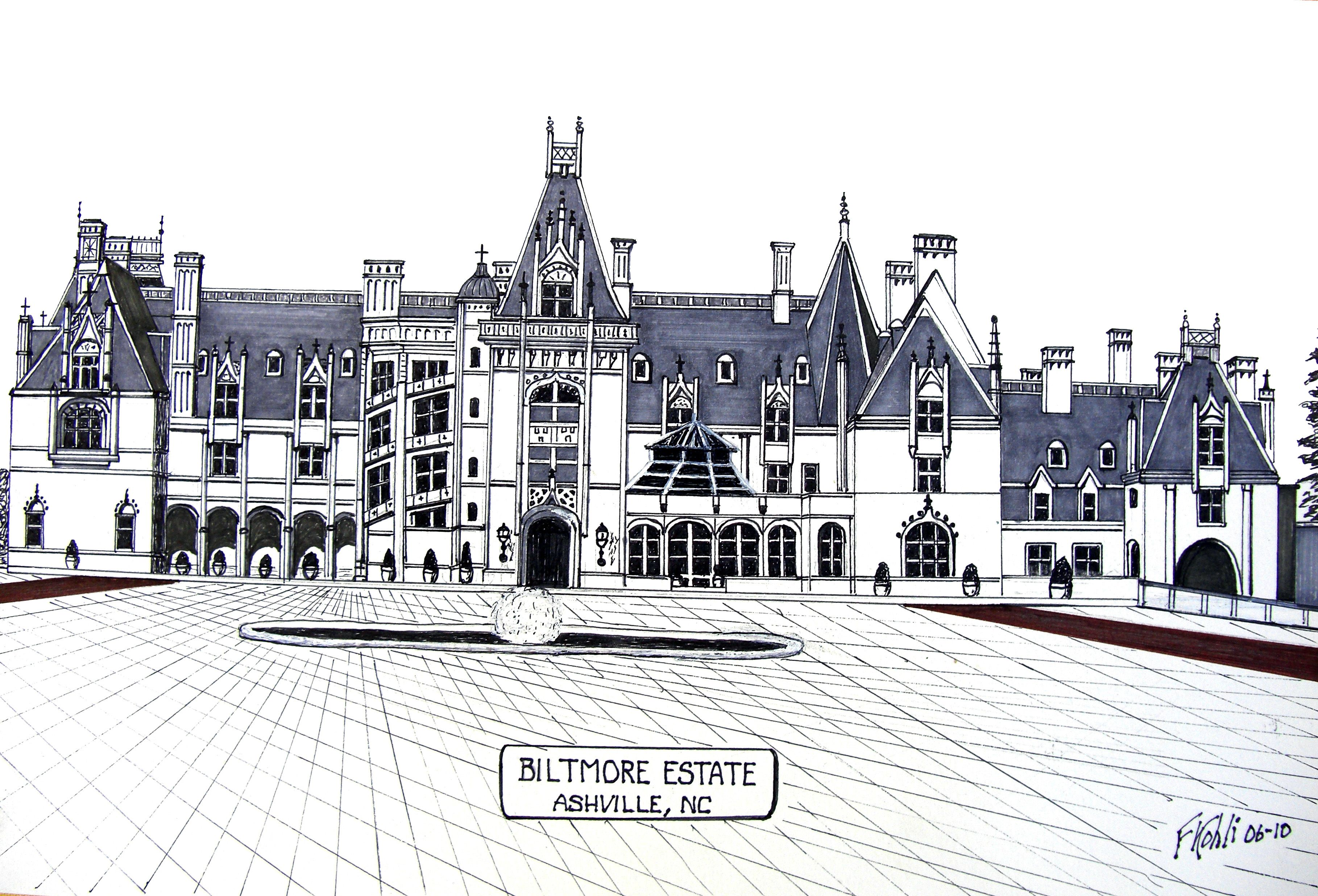 Pen and ink drawing by frederic kohli of the famous biltmore estate in western north carolina