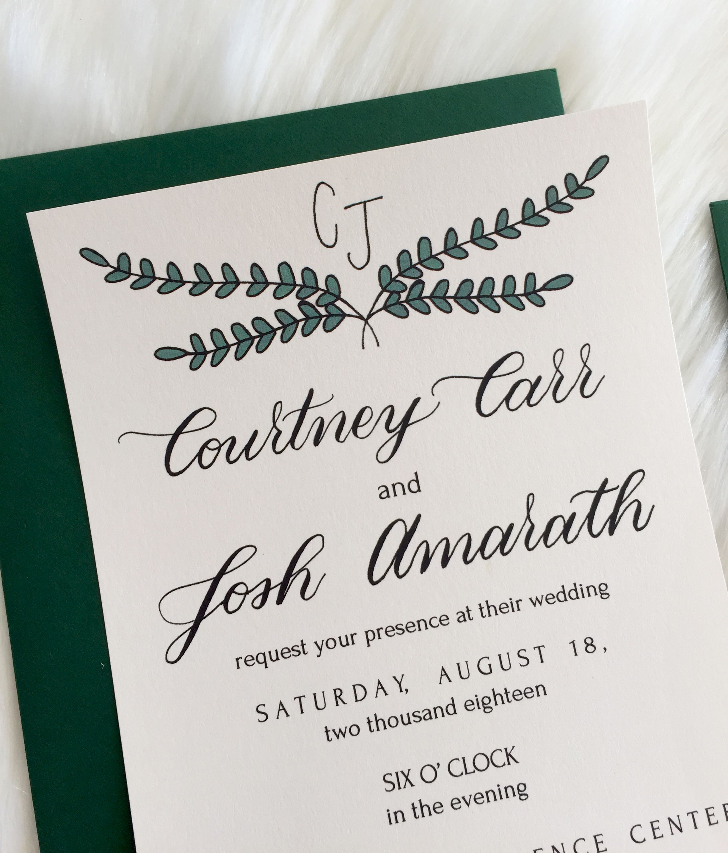 Simple print and calligraphy wedding invite, boutique wedding ...