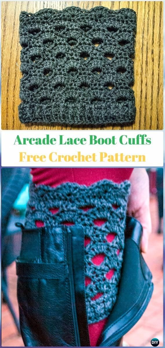 Crochet Arcade Lace Boot Cuffs Free Pattern Crochet Boot Cuffs