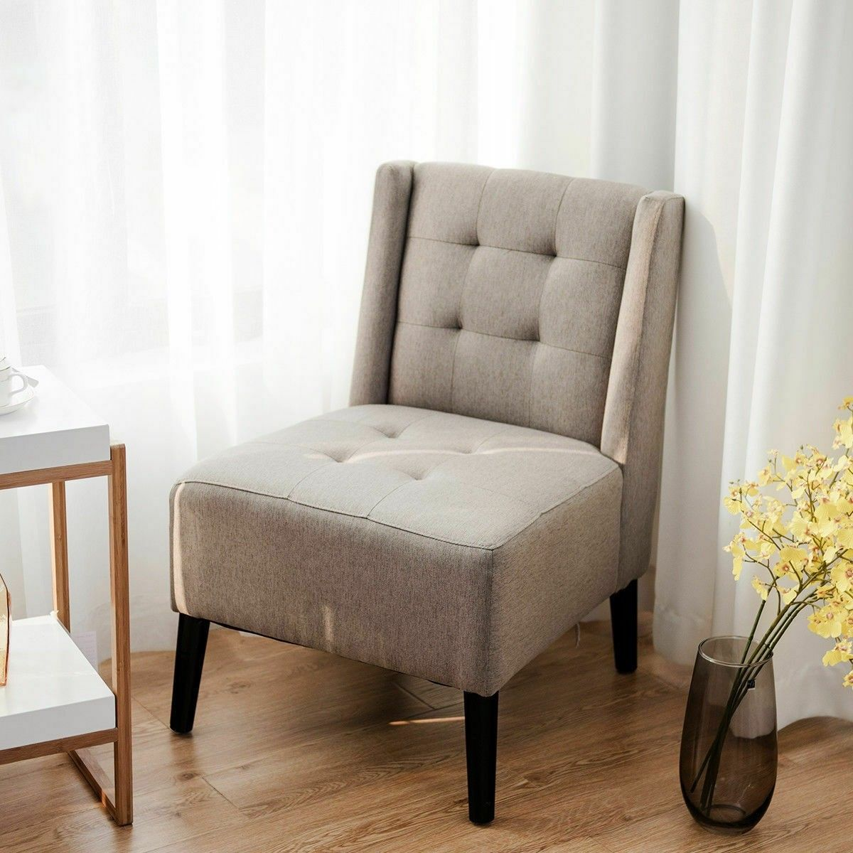 Accent Fabric Upholstered Armless Chair Material Imitation Linen