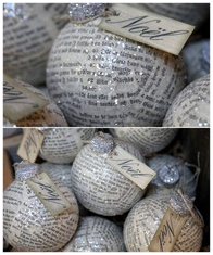newspaper decoupage baubles