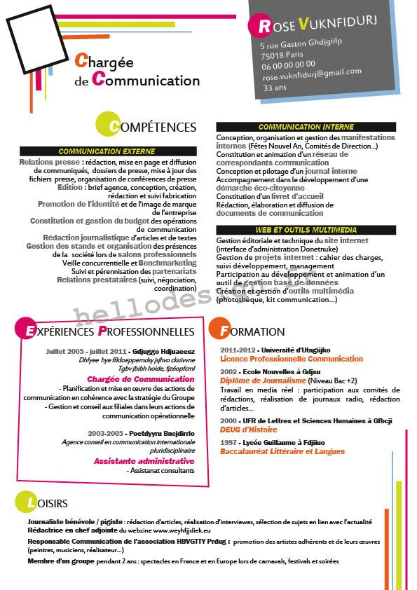 cv charg u00e9e de communication