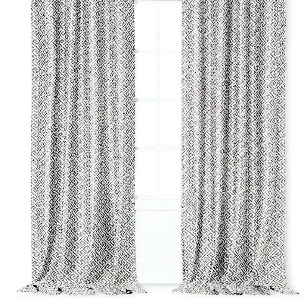 Threshold Greek Key Curtain Panel 54 X 95 Grey Brand New 1 Panel