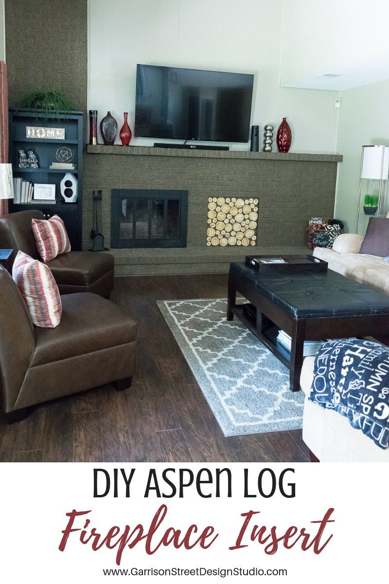 Diy aspen log fireplace insert ️garrisonstreetdesignstudio faux stacked logs logs aspen