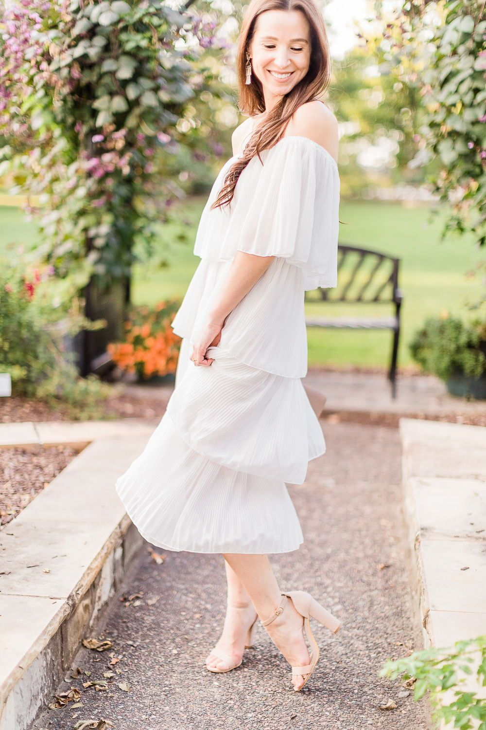 Budget-Friendly Bridal Shower Dress for the Bride-to-Be #dressesforengagementparty How gorgeous is this white off the shoulder ruffle dress from Amazon Fashion?! Not only is this LWD perfect for Bride-to-Be's (it'd make a perfect engagement party dress, bridal shower dress, and/or rehearsal dinner dress!), it comes in 8 colors and would make a beautiful fall wedding guest outfit, too. Click through for outfit details from popular affordable fashion blogger Stephanie Ziajka on Diary of a Debutant #dressesforengagementparty