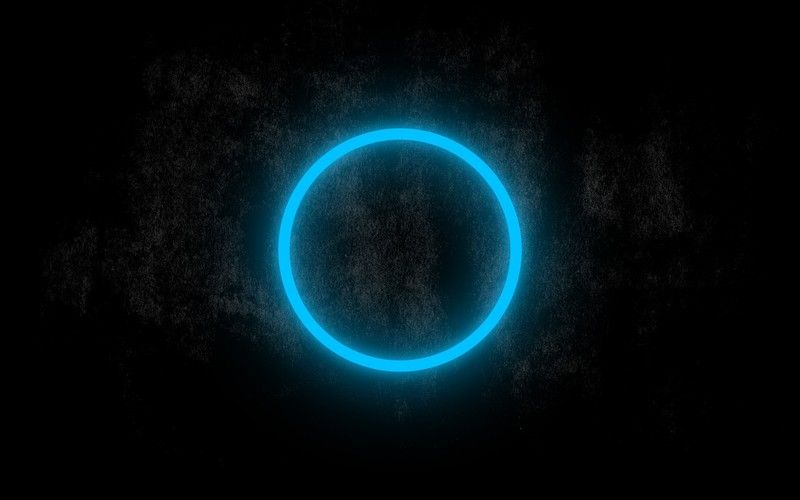 Blue Neon Circle Glowing In The Dark Wallpaper