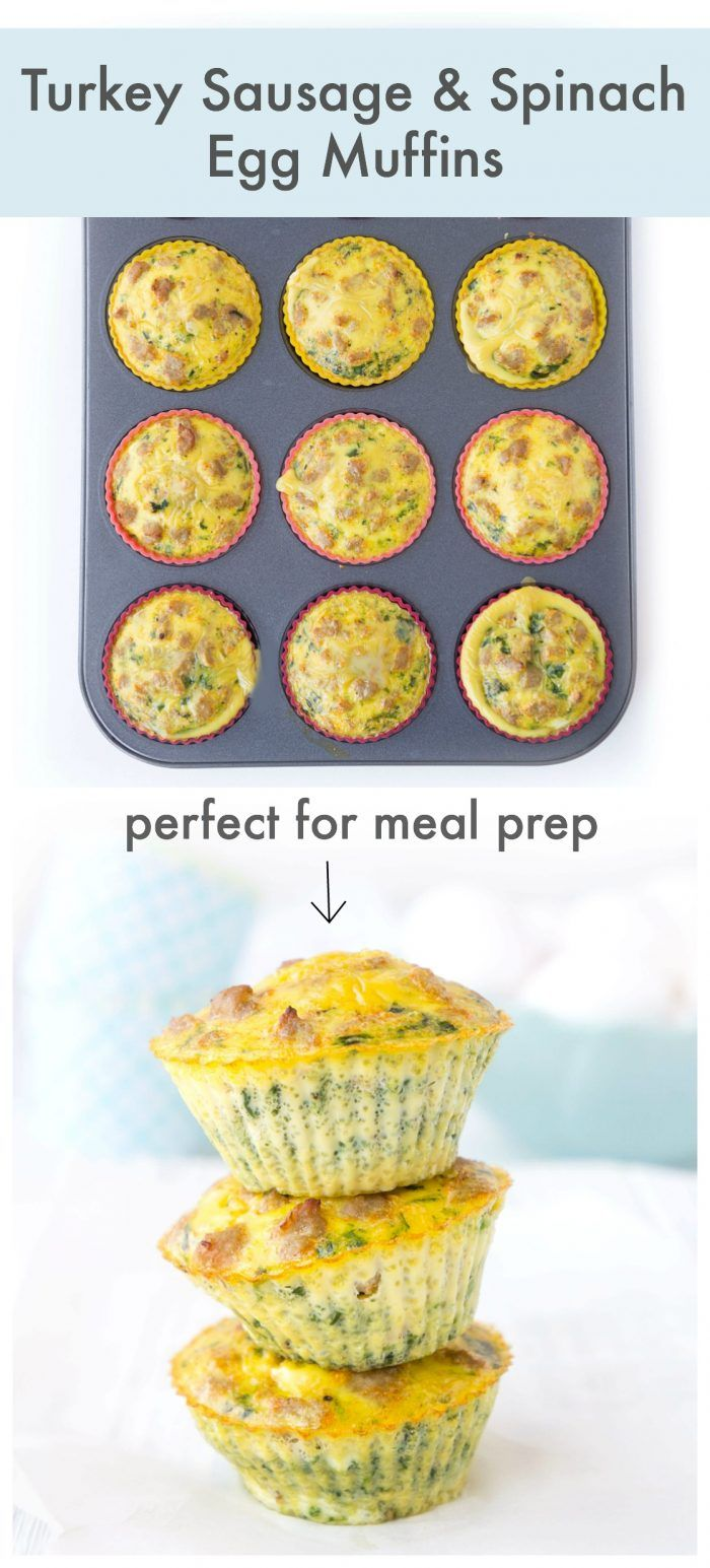 Turkey Sausage Spinach Egg Muffins #eggmeals