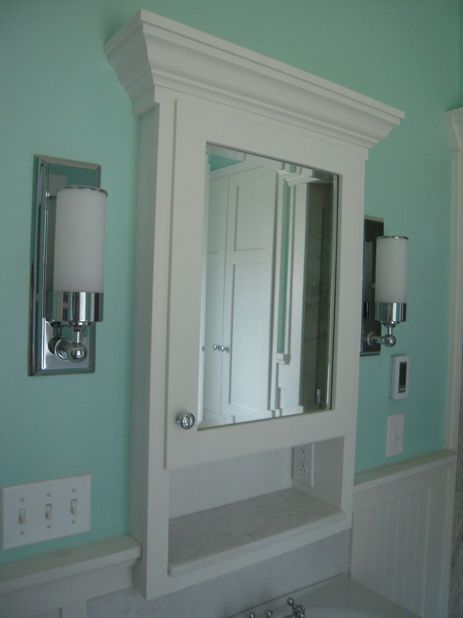 Recessed Medicine Cabinet And White Wooden Panel Half Wall With Modern Sconce In Wonderful Bathroom Design Plus Turquoise Paint