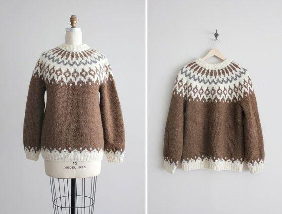 Fair isle sweater / icelandic sweater / brown wool sweater ...