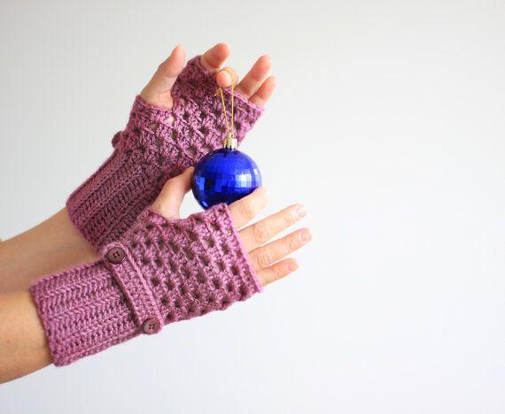 Manopla guantes sin dedos guantes de color púrpuras por SENNURSASA, $20.90