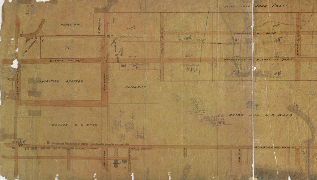 Plan de propriétés situées au Mile End (extrait) Attribué à Henri