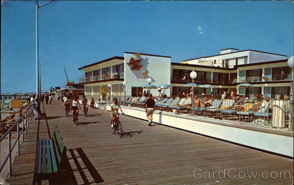 Sting Ray Hotel On The Boardwalk Vintage Postcard It Is Now Called Beach Club