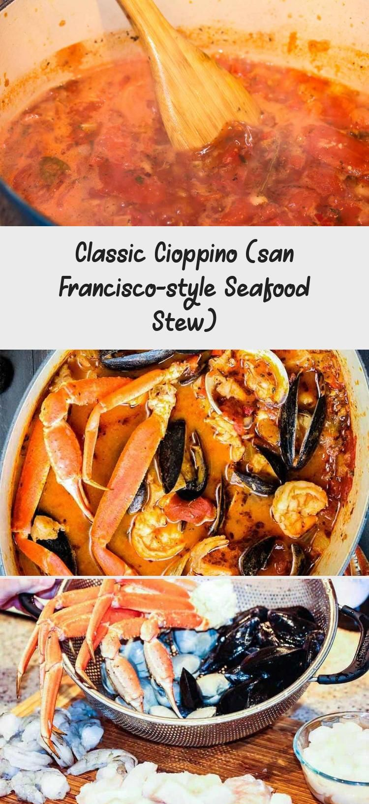 Classic Cioppino is an amazing Italian-American seafood stew made famous in San Francisco. Surprisingly easy to make, this is just amazing! #BestSeafoodRecipes #SpicySeafoodRecipes #SeafoodRecipesCopycat #SeafoodRecipesRomantic #SeafoodRecipesLobster #seafoodstew