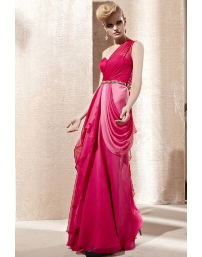 One Shoulder Beading Drapping Ombre Long Fuchsia Evening Dress