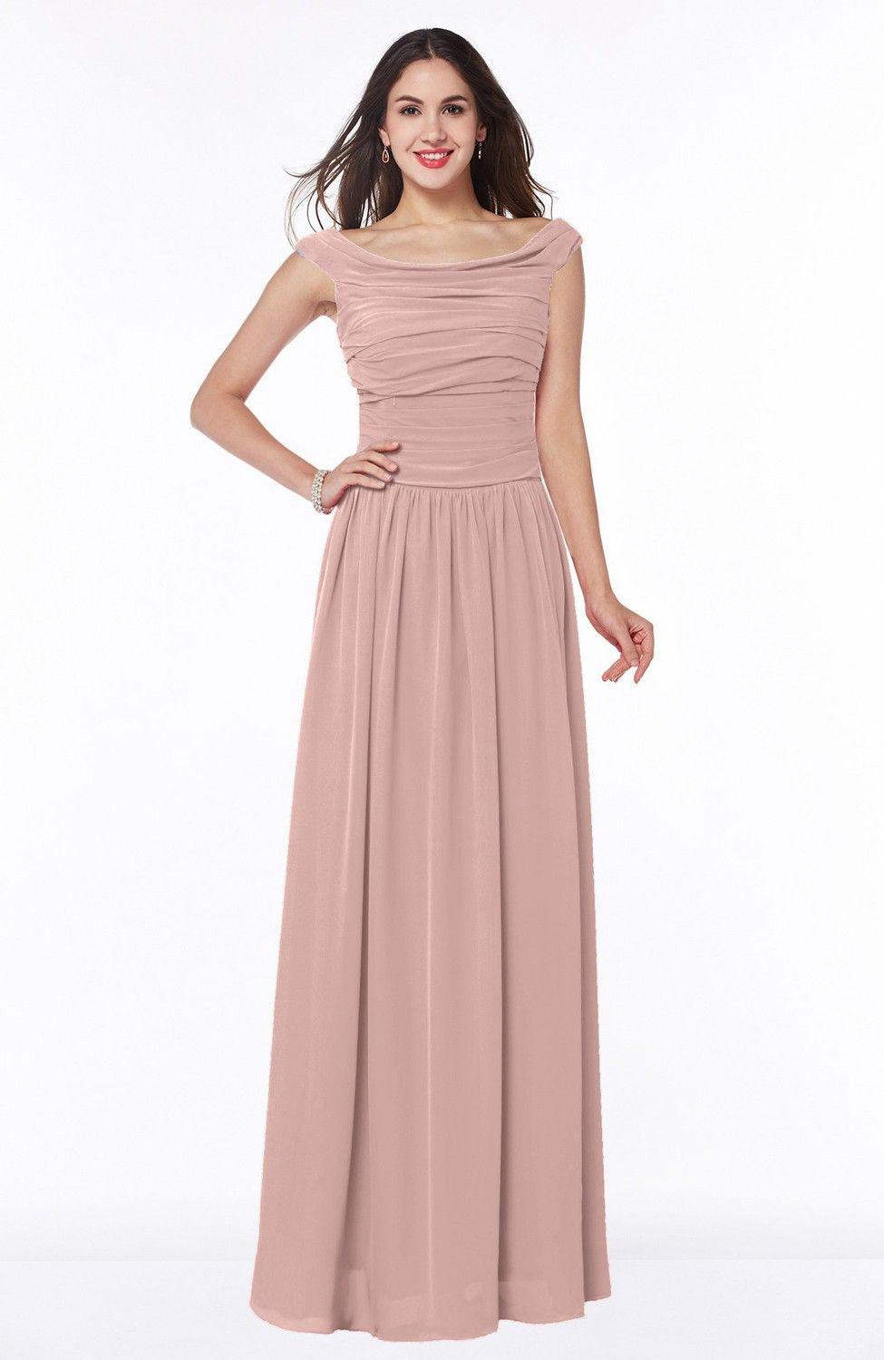 Dusty Rose Bridesmaid Dress - Elegant A-line Scoop Zip up Chiffon ...