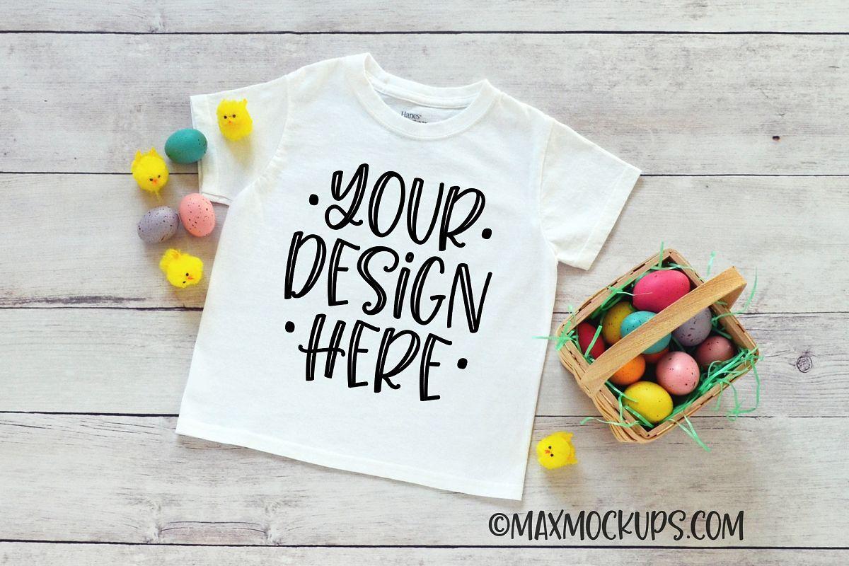 White Kids Shirt Easter Mockup Easter Eggs And Chicks Kids