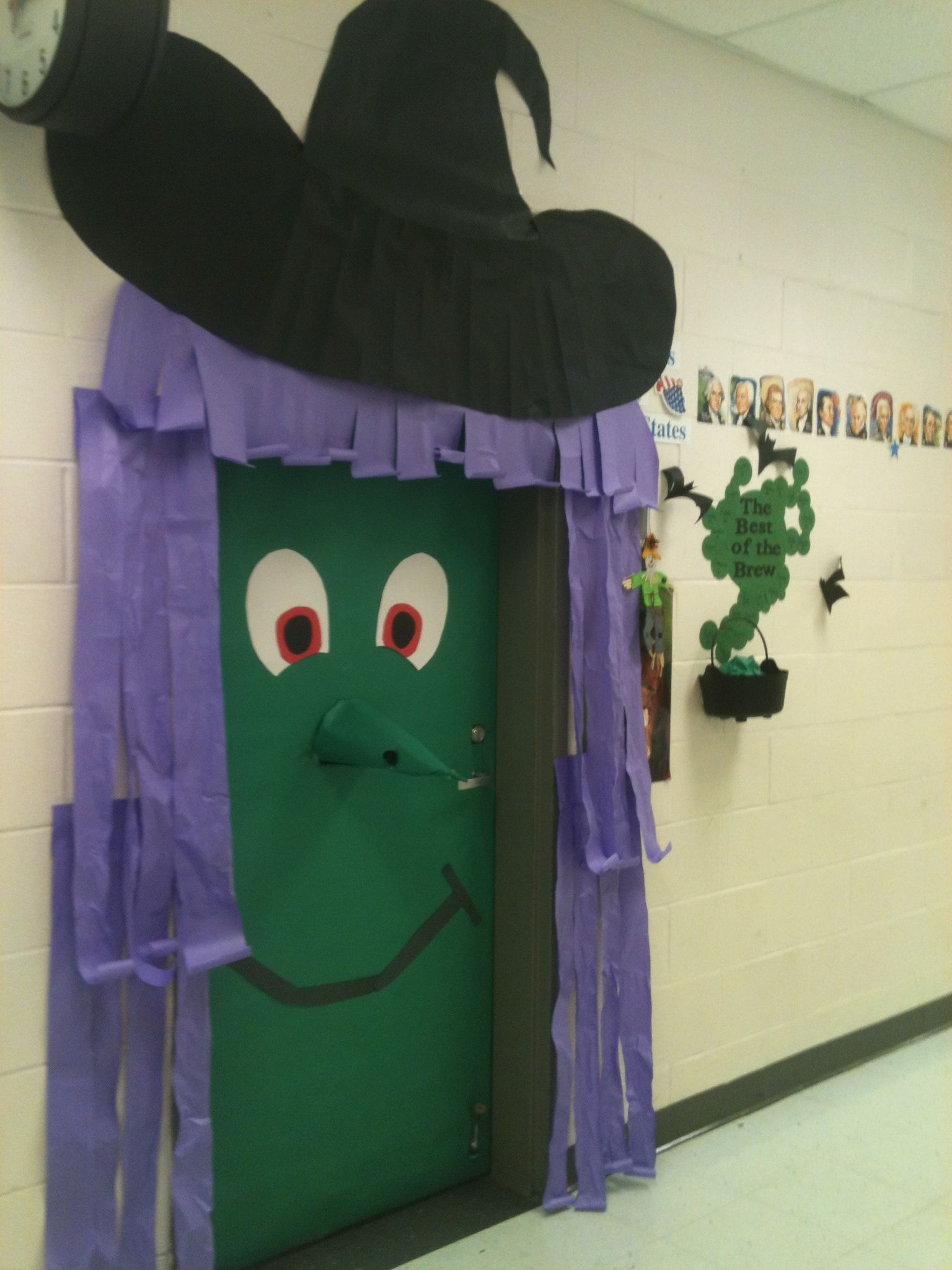 Classroom door decoration for Halloween (a green witch) Display