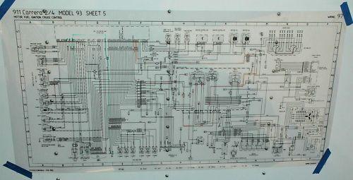 porsche poster schematic 964 engine wiring | ebay
