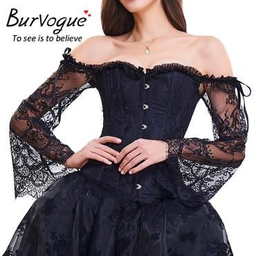 burvogue floral lace steampunk vintage satin corset and