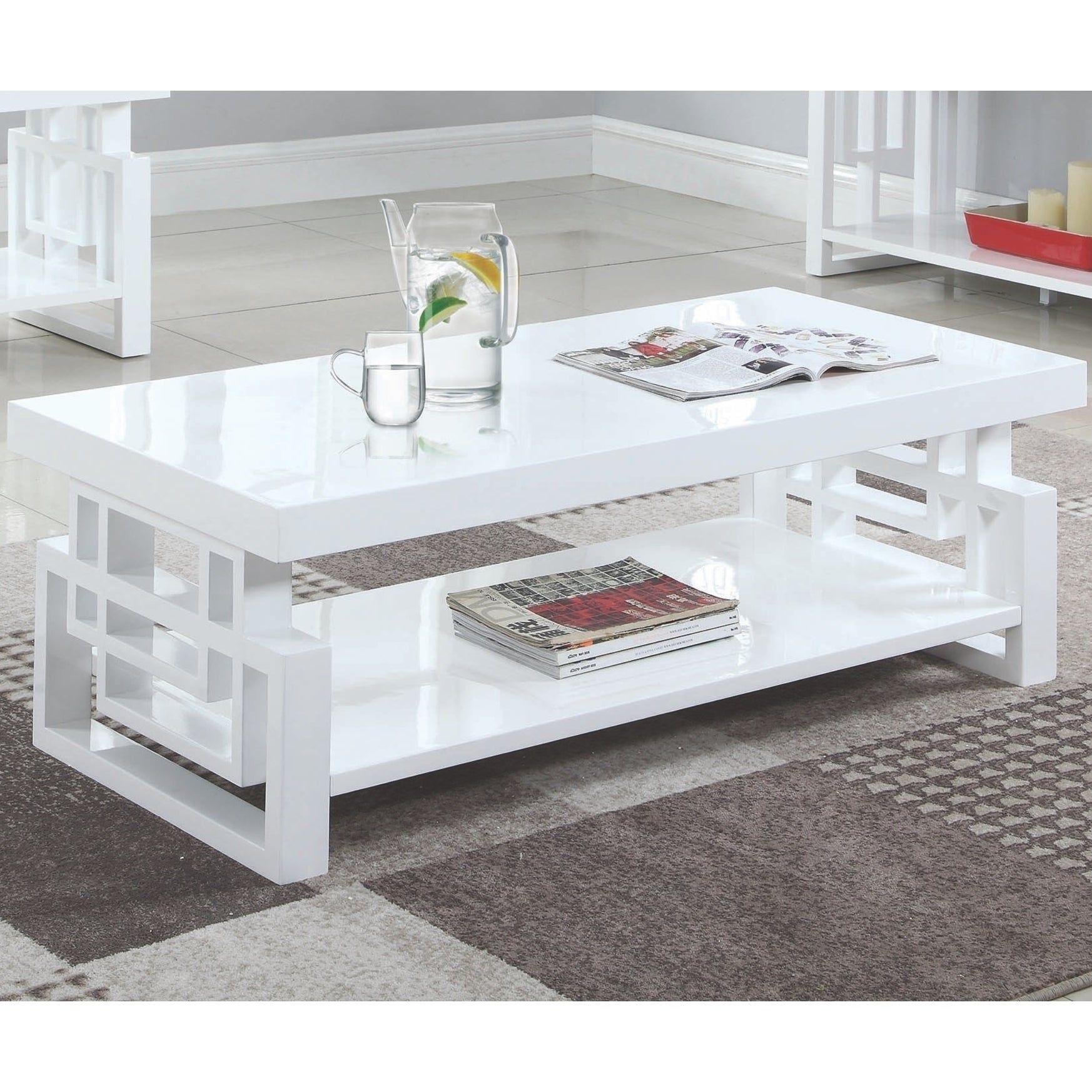 Modern Artistic Design High Glossy White Coffee Table Coffee