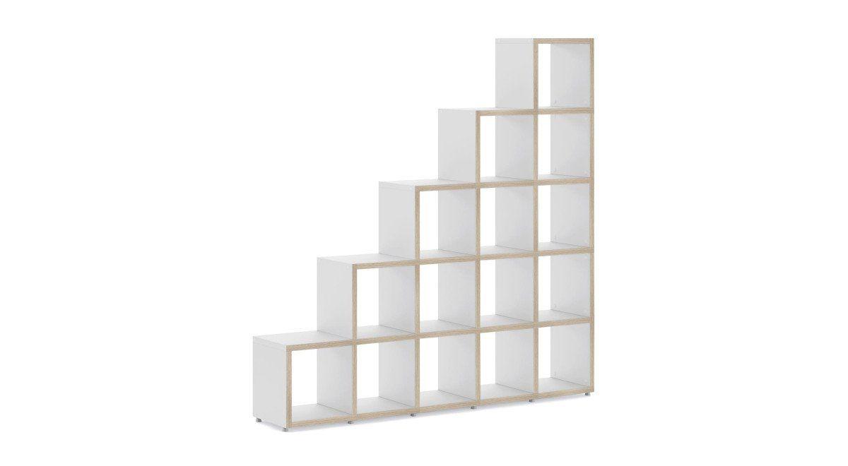BOON 5x5 Stufenregal   181x183x33 cm weiß, eiche  