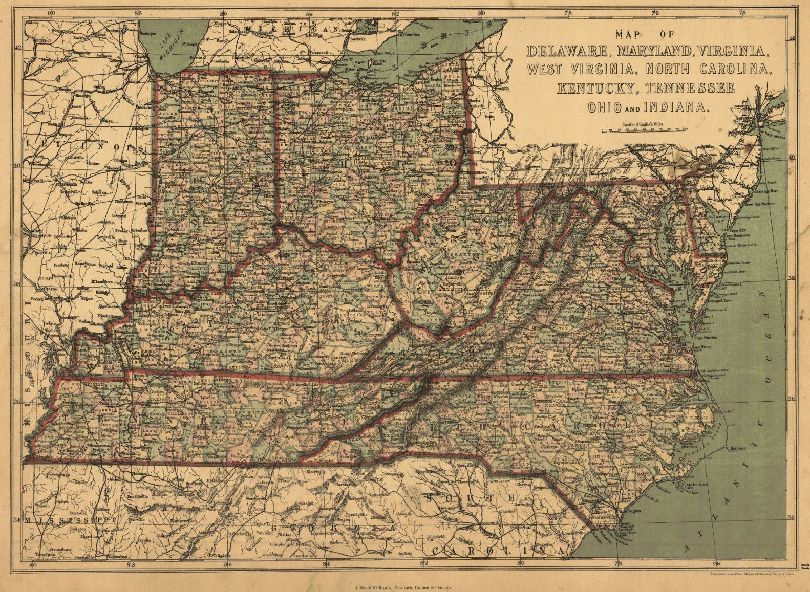 Map Antique Map Of Delaware Maryland Virginia West Virginia North - Map of virginia and north carolina