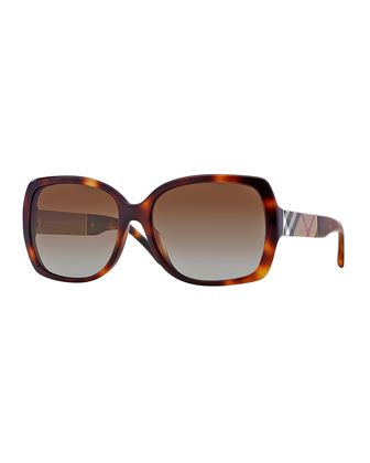c2b2ba669c9 Oval Havana Sunglasses with Check Arms by Burberry at Neiman Marcus ...