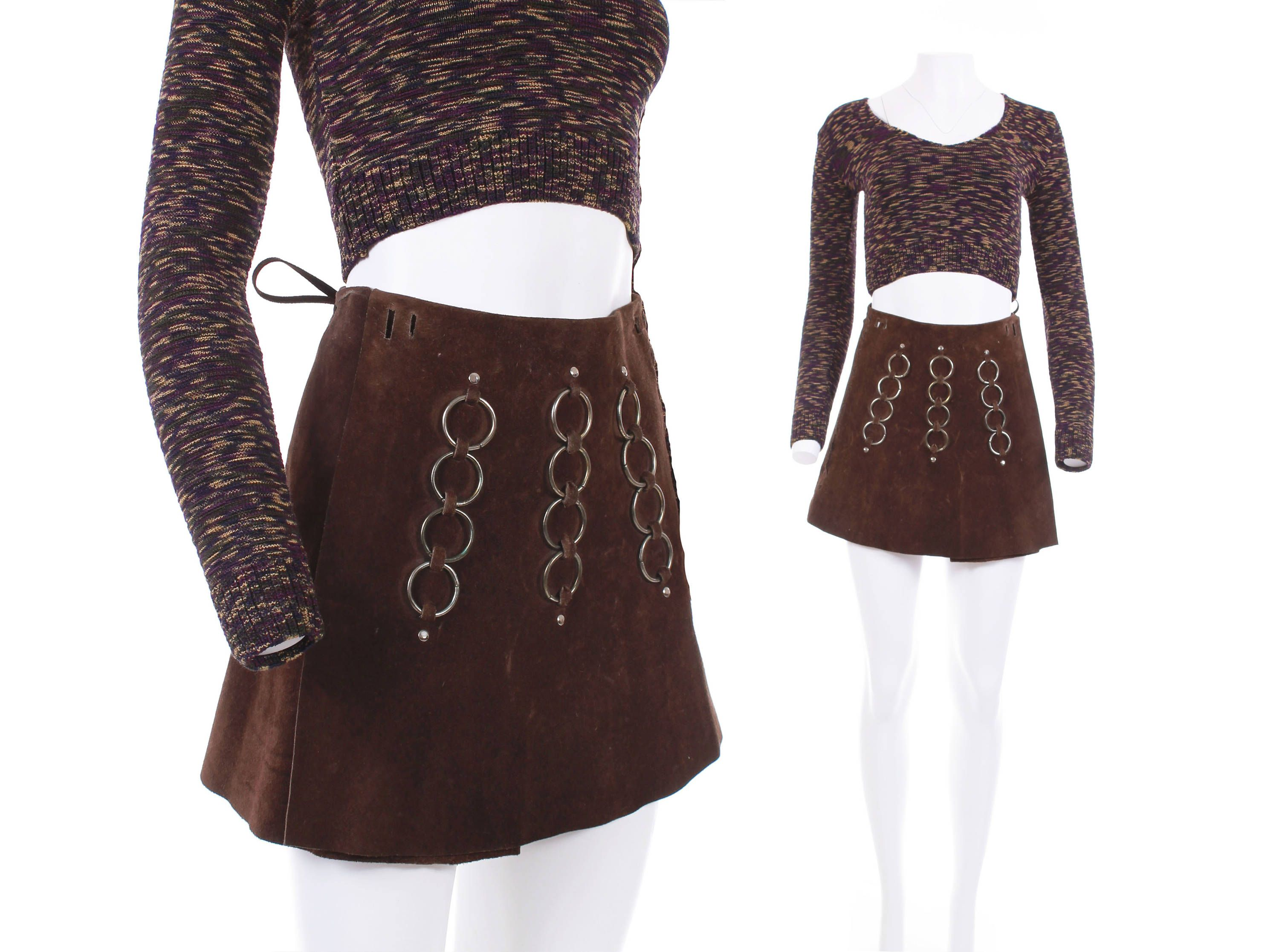 83a9fc0718 60s Vintage Suede O-Ring Mini Skirt Brown Genuine Leather High Waisted 70s  Boho Retro Mod RARE Women's Size Small by KCOVINTAGE on Etsy