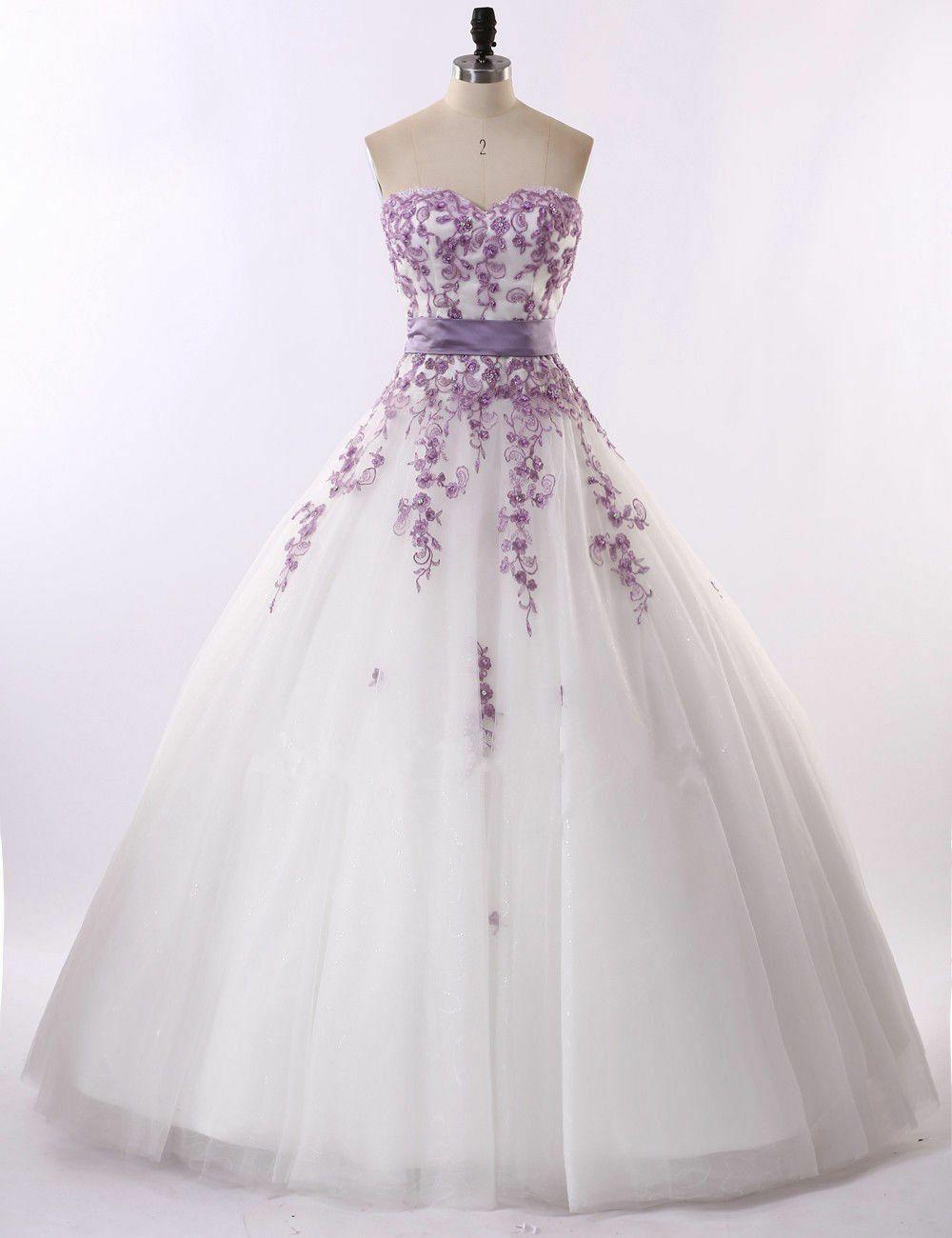 2018 White Ivory And Purple Florals Lace Wedding Dresses Bridal Gown Cu Bridal Dresses Ideas Of B Purple Wedding Dress Applique Wedding Dress Ball Dresses [ 1300 x 1000 Pixel ]