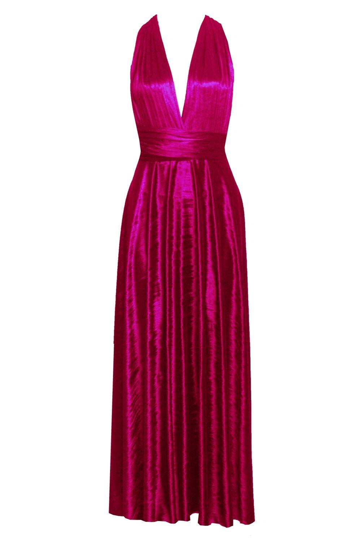 Infinity dress crushed velvet maxi gown bridesmaids hot pink dress