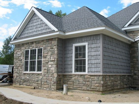 Boral Cultured Stone For A Traditional Exterior With A Shake Siding And Boral Cultured Stone Stone Exterior Houses House Designs Exterior House Paint Exterior