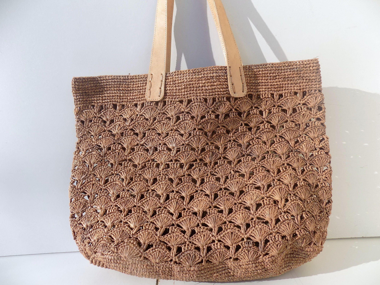 Tote bag beach bag, blue, white, straw, natural raffia